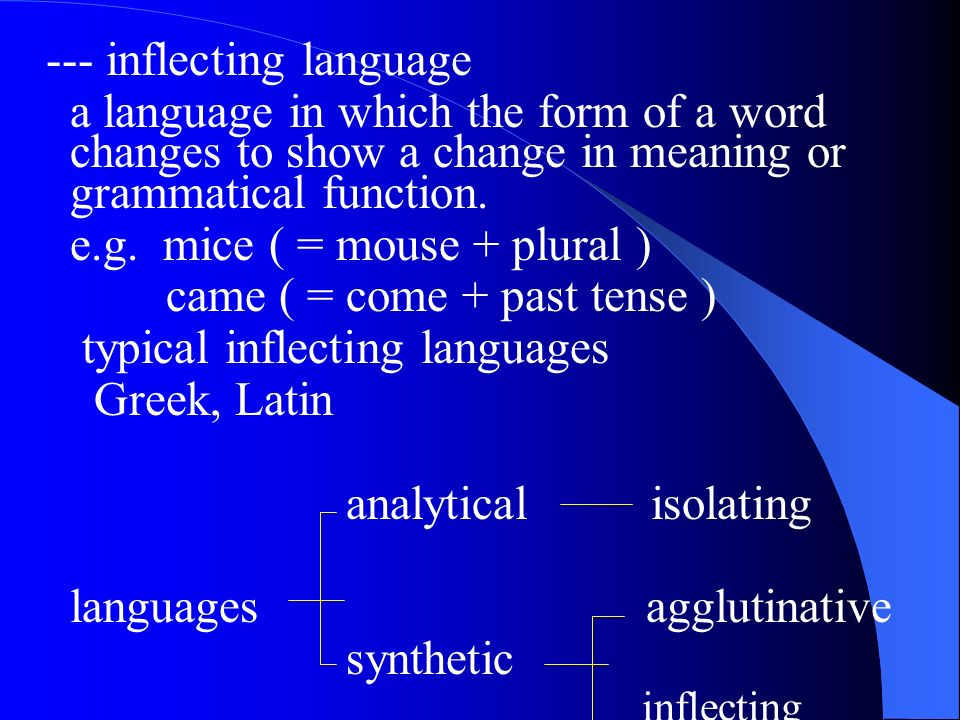--- inflecting language a language in which the form of a word changes to show a change in meaning or grammatical function.