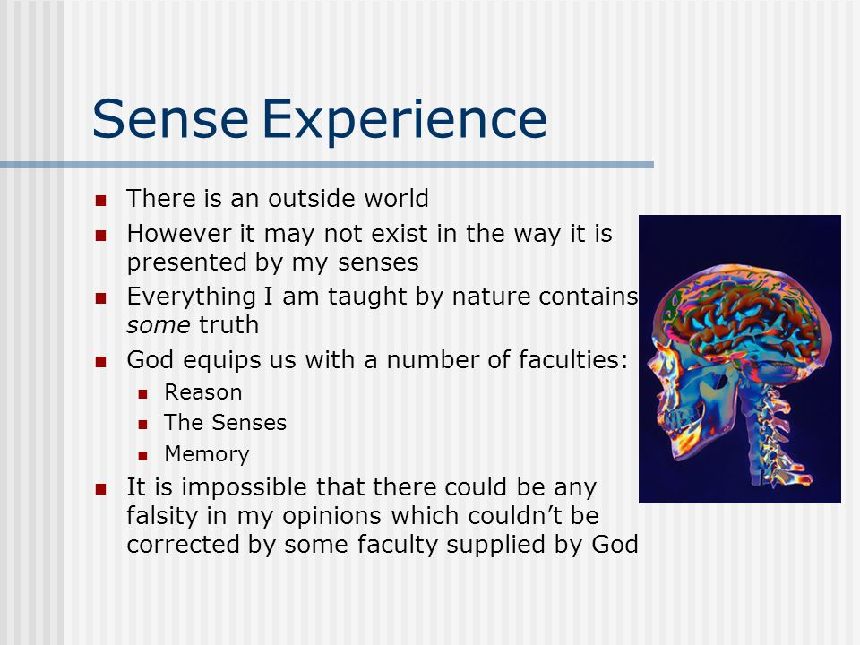 Sense Experience There is an outside world However it may not exist in the way it is presented by my senses Everything I am taught by nature contains