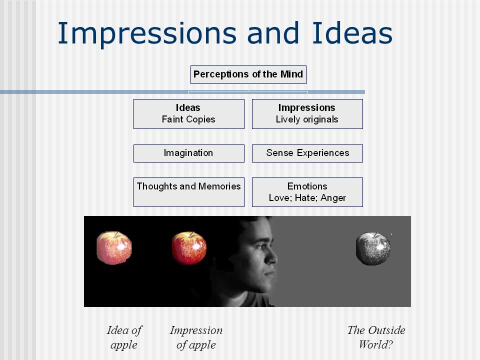 Impressions and Ideas Idea of apple Impression of apple The Outside World?