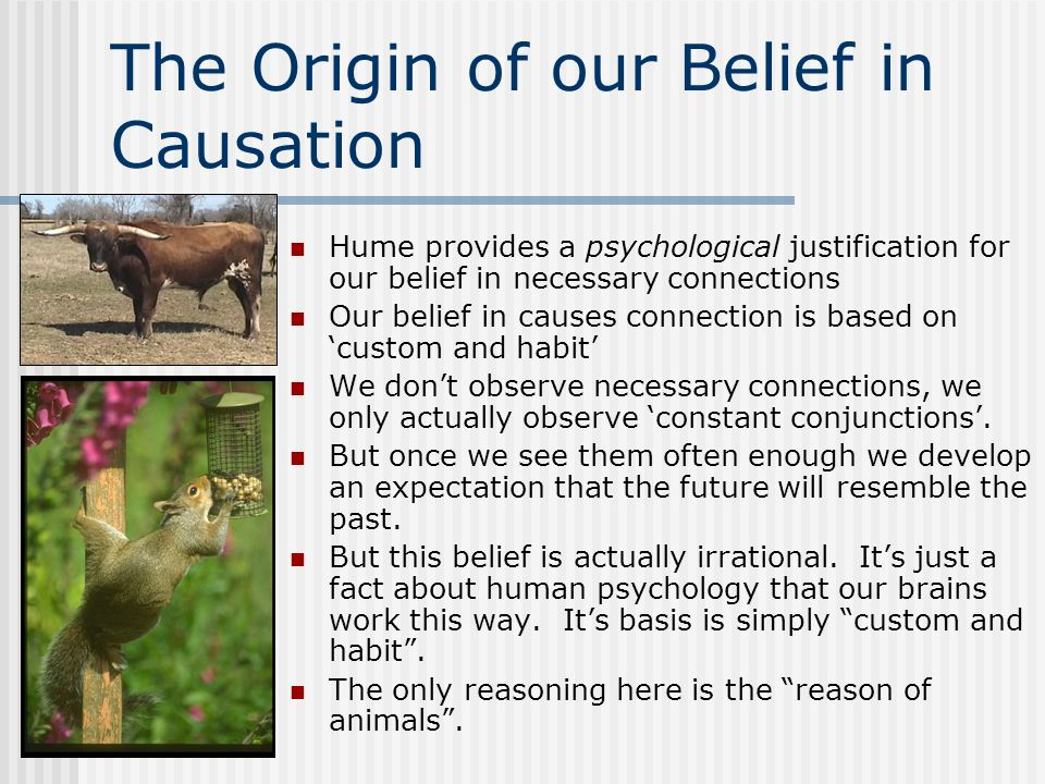 The Origin of our Belief in Causation Hume provides a psychological justification for our belief in necessary connections Our belief in causes connect