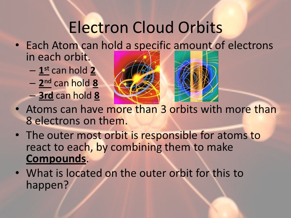 Electron Cloud Orbits Each Atom can hold a specific amount of electrons in each orbit. – 1 st can hold 2 – 2 nd can hold 8 – 3rd can hold 8 Atoms can