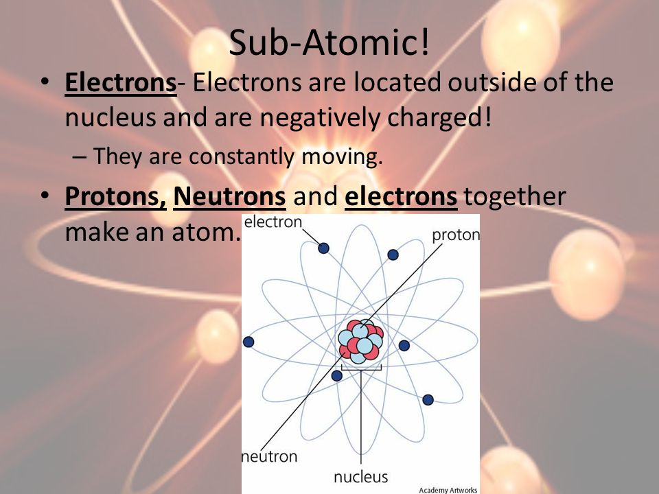 Sub-Atomic! Electrons- Electrons are located outside of the nucleus and are negatively charged! – They are constantly moving. Protons, Neutrons and el