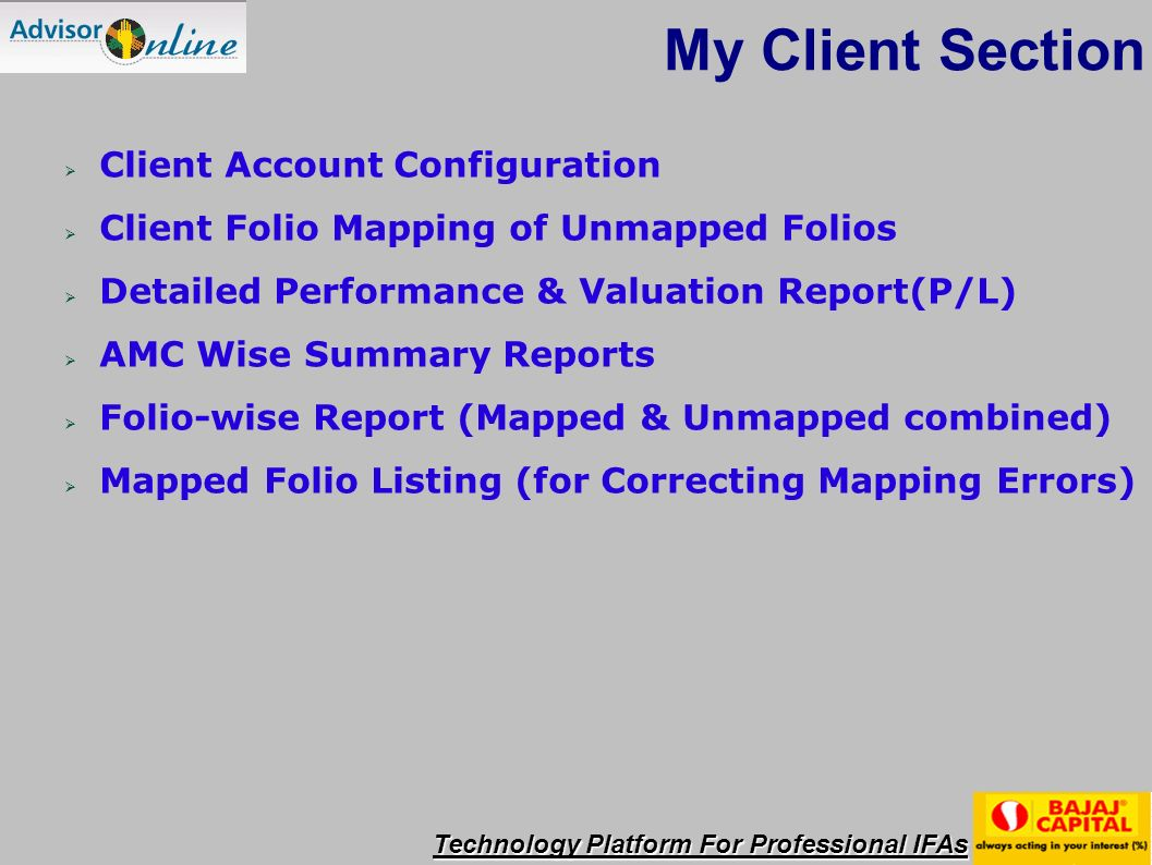 Technology Platform For Professional IFAs Show Comprehensive & Portfolio Performance Report of the clients Detail Performance Reports