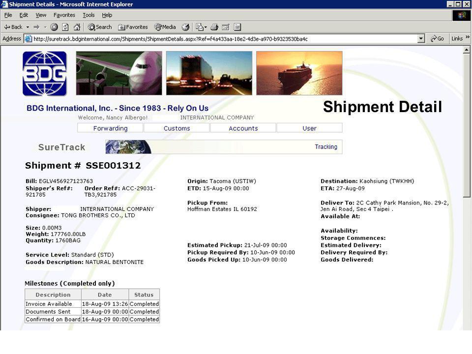 Shipment Detail a Shipment Detail
