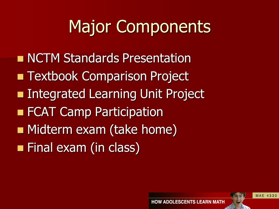 Major Components NCTM Standards Presentation NCTM Standards Presentation Textbook Comparison Project Textbook Comparison Project Integrated Learning U