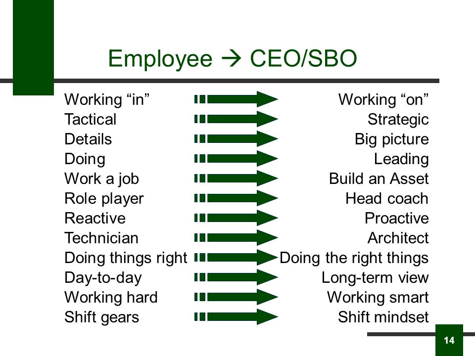 Employee CEO/SBO Working inWorking on TacticalStrategic DoingLeading Work a jobBuild an Asset DetailsBig picture Role playerHead coach ReactiveProactive TechnicianArchitect Doing things rightDoing the right things Day-to-dayLong-term view Working hardWorking smart Shift gearsShift mindset 14