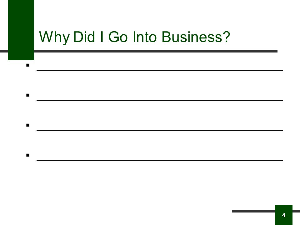 Why Did I Go Into Business ____________________________________________ 4