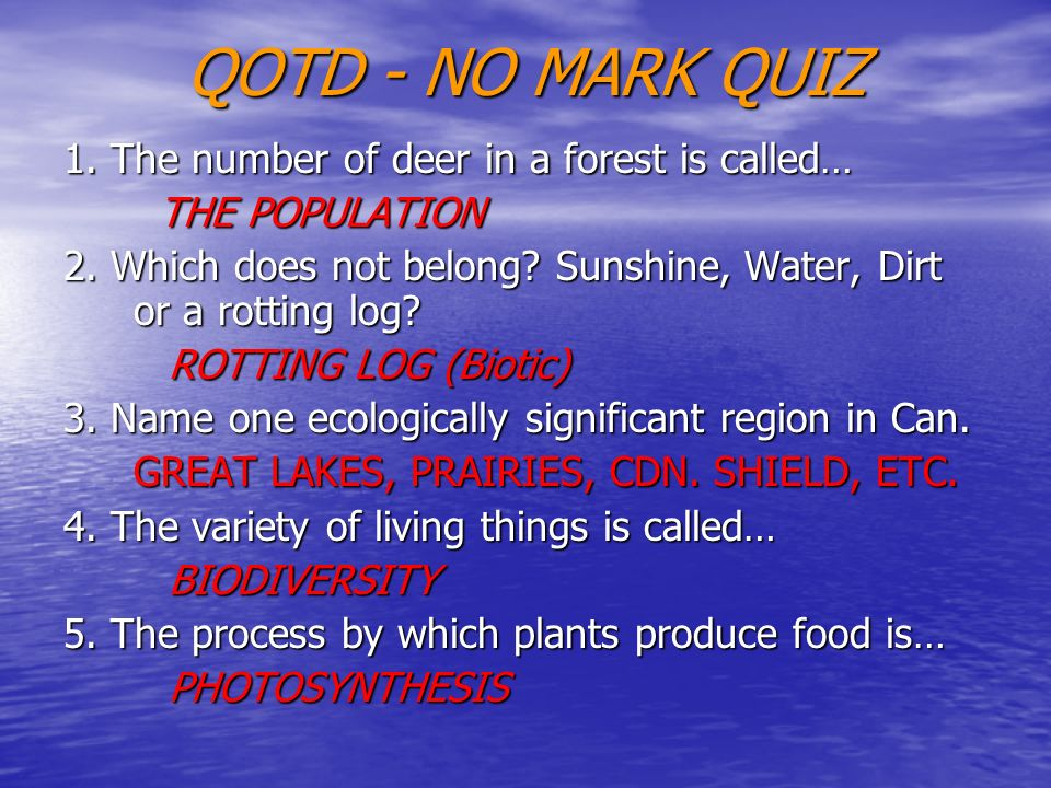 QOTD - NO MARK QUIZ 1. The number of deer in a forest is called… THE POPULATION THE POPULATION 2. Which does not belong? Sunshine, Water, Dirt or a ro