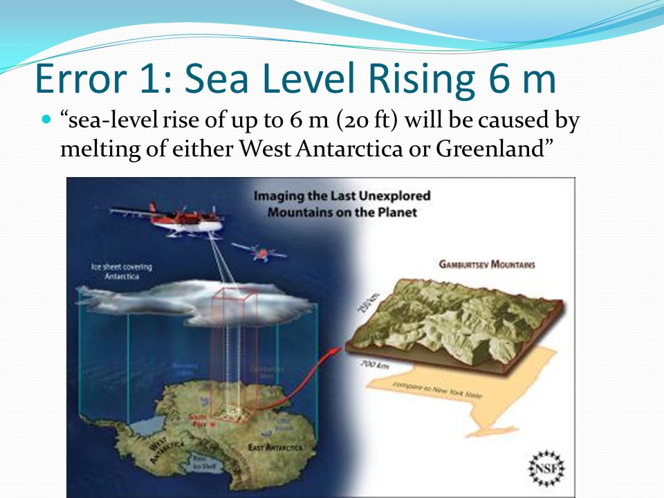 Error 1: Sea Level Rising 6 m sea-level rise of up to 6 m (20 ft) will be caused by melting of either West Antarctica or Greenland