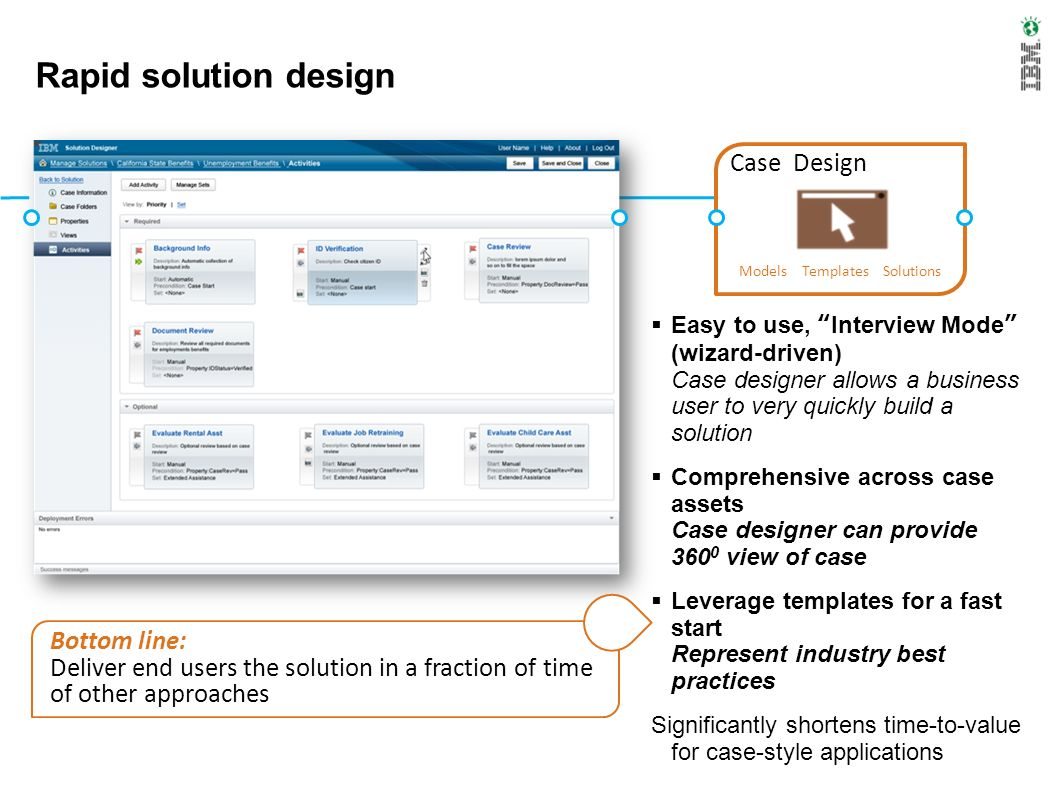 Solution object model A solution is conceptually composed of cases Persistence model is based on the case instance