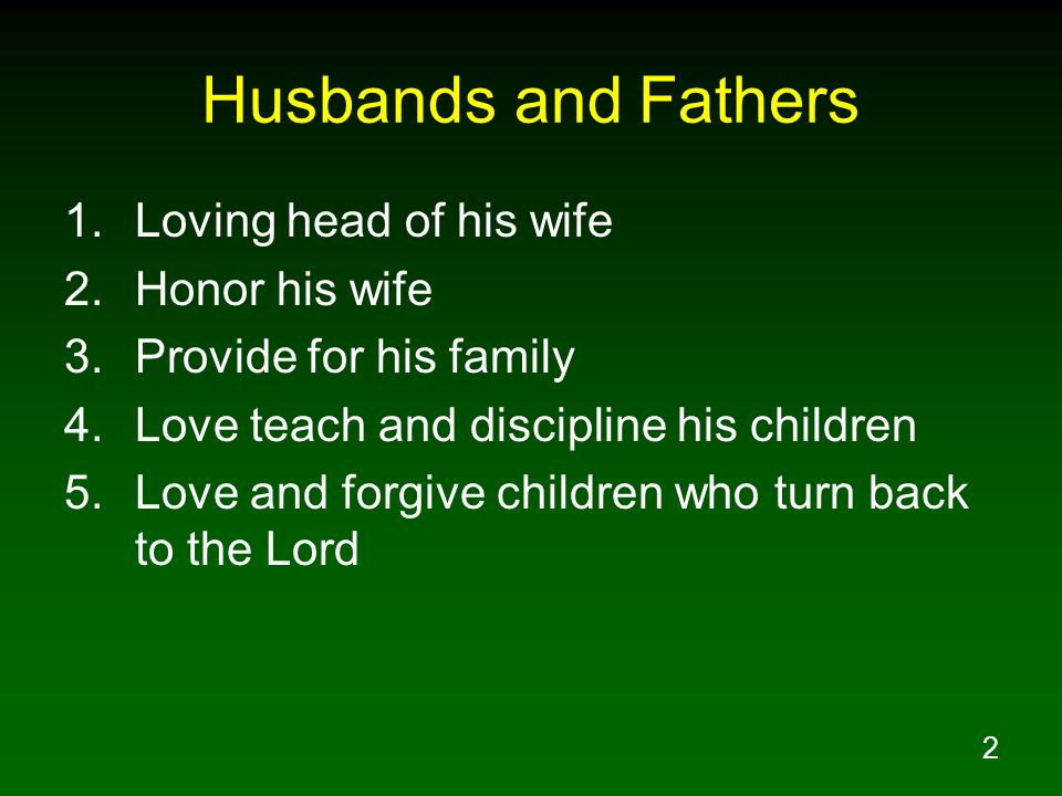 3 Wives and Mothers 1.Love her husband 2.Reverently submit to her husband 3.Chaste and respectful behavior 4.Manage the home 5.Love teach and discipline her children