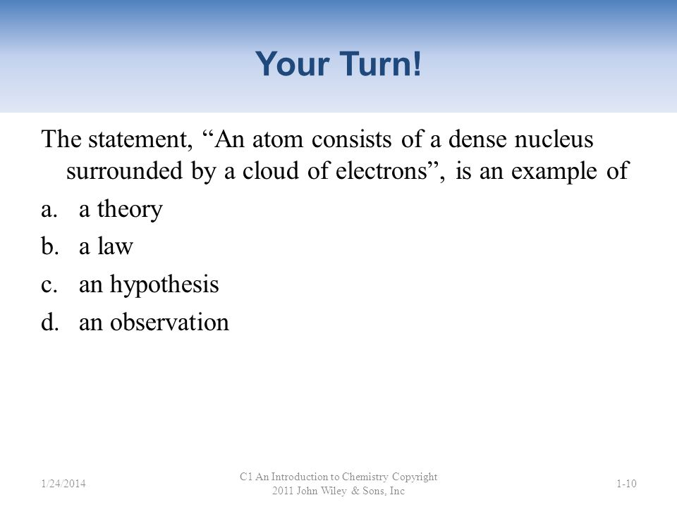 Your Turn! Which of these is a law? a.Atoms consist of protons, neutrons, and electrons. b.All matter is composed of atoms. c.Atoms can form chemical