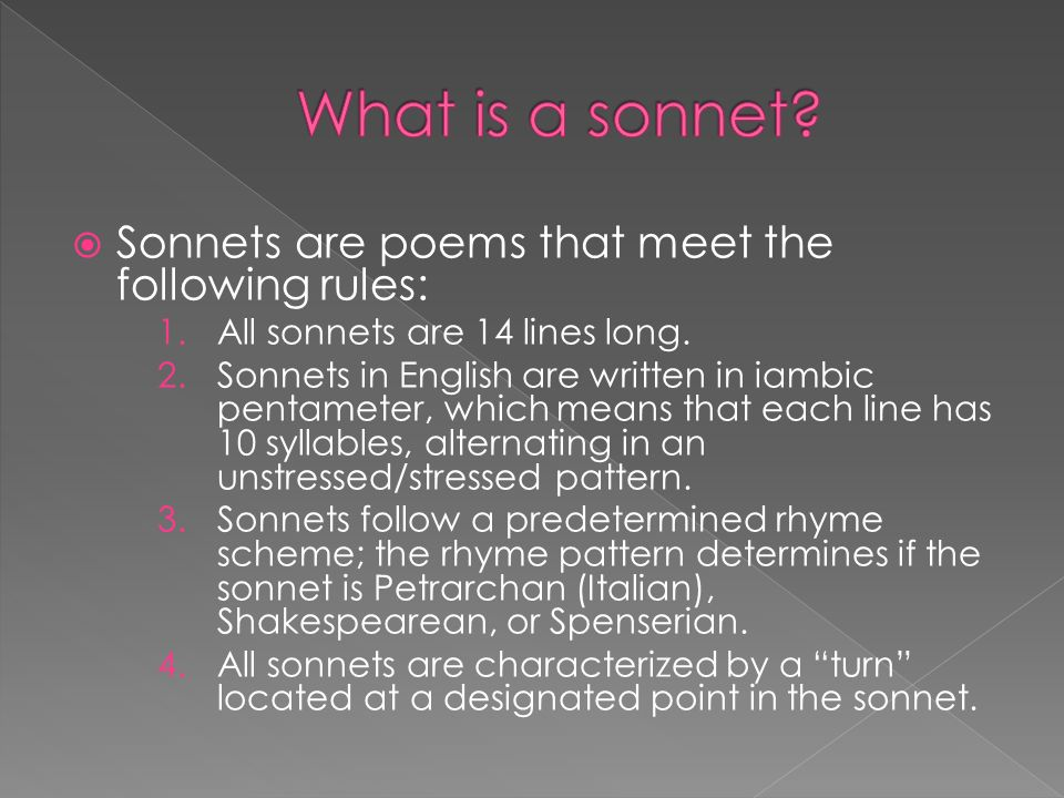 an introduction to the analysis of a sonnet Sonnet 116 describes the type of love that all humans long for, whether it is from parent to child, friend to friend, or lover to lover, although most likely shakespeare meant this sonnet to.