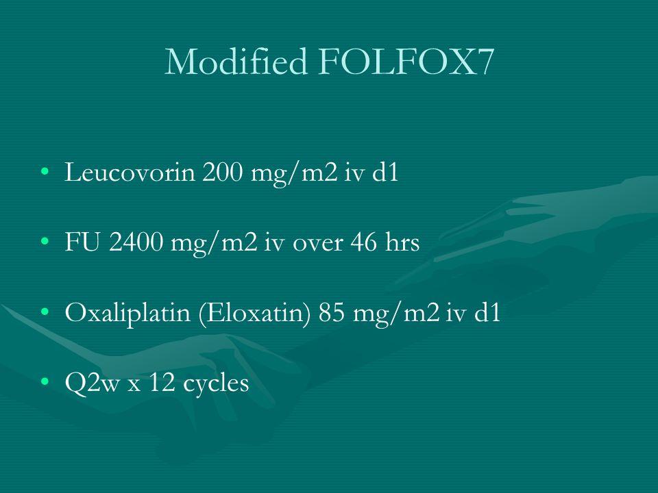 Modified FOLFOX7 Leucovorin 200 mg/m2 iv d1 FU 2400 mg/m2 iv over 46 hrs Oxaliplatin (Eloxatin) 85 mg/m2 iv d1 Q2w x 12 cycles