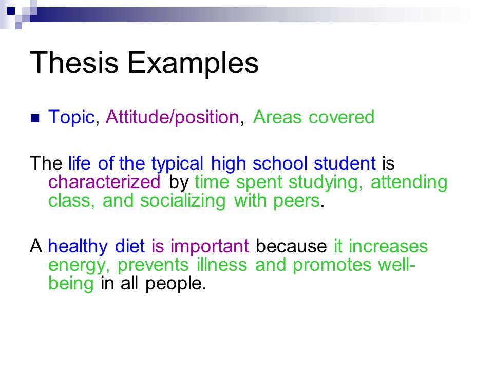 Thesis Examples Topic, Attitude/position, Areas covered The life of the typical high school student is characterized by time spent studying, attending class, and socializing with peers.