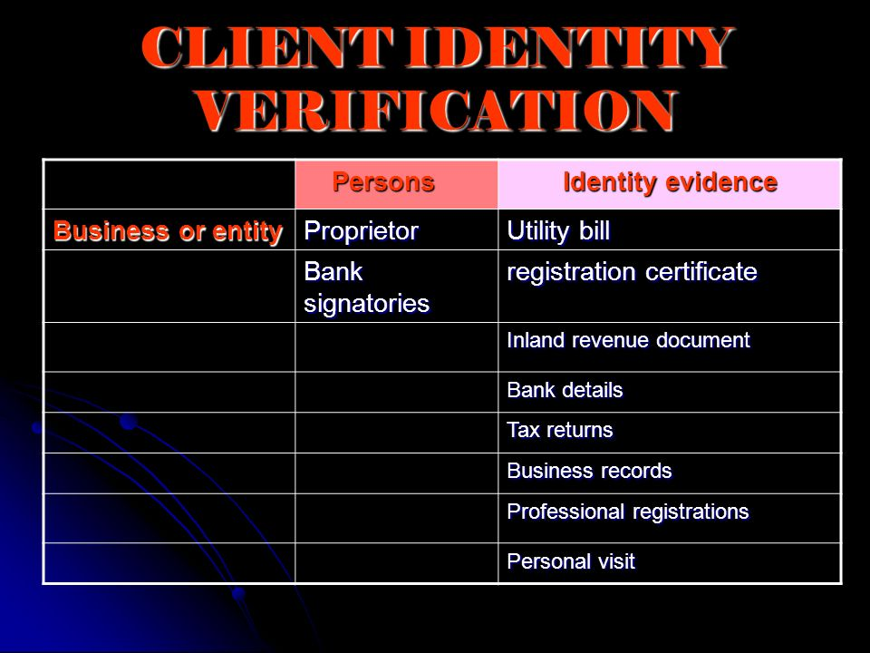 CLIENT IDENTITY VERIFICATION Persons Persons Identity evidence Business or entity Proprietor Utility bill Bank signatories registration certificate In