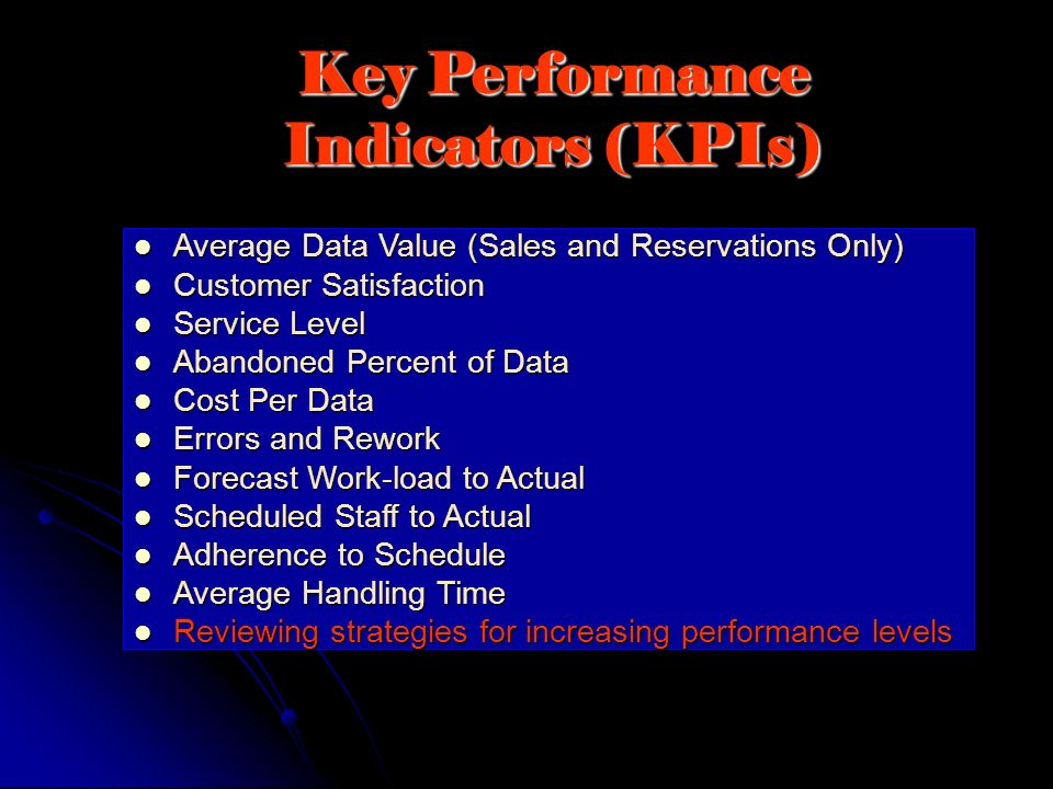 Key Performance Indicators (KPIs) Average Data Value (Sales and Reservations Only) Average Data Value (Sales and Reservations Only) Customer Satisfact