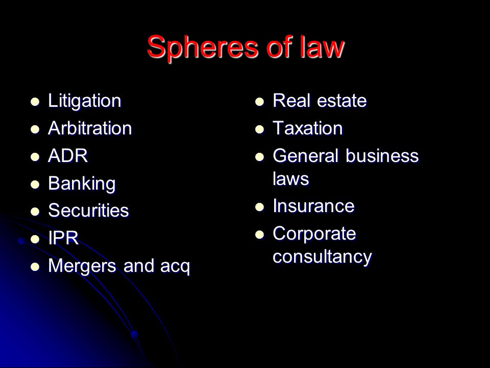 Spheres of law Litigation Litigation Arbitration Arbitration ADR ADR Banking Banking Securities Securities IPR IPR Mergers and acq Mergers and acq Rea
