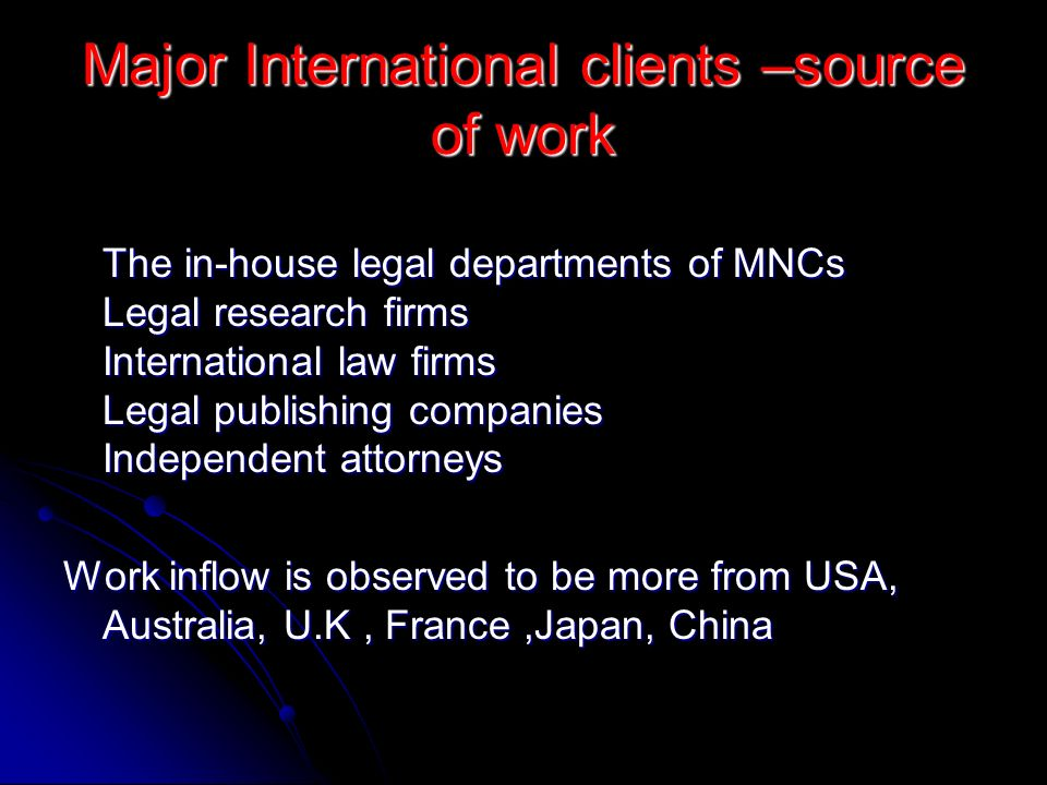 Major International clients –source of work The in-house legal departments of MNCs Legal research firms International law firms Legal publishing compa