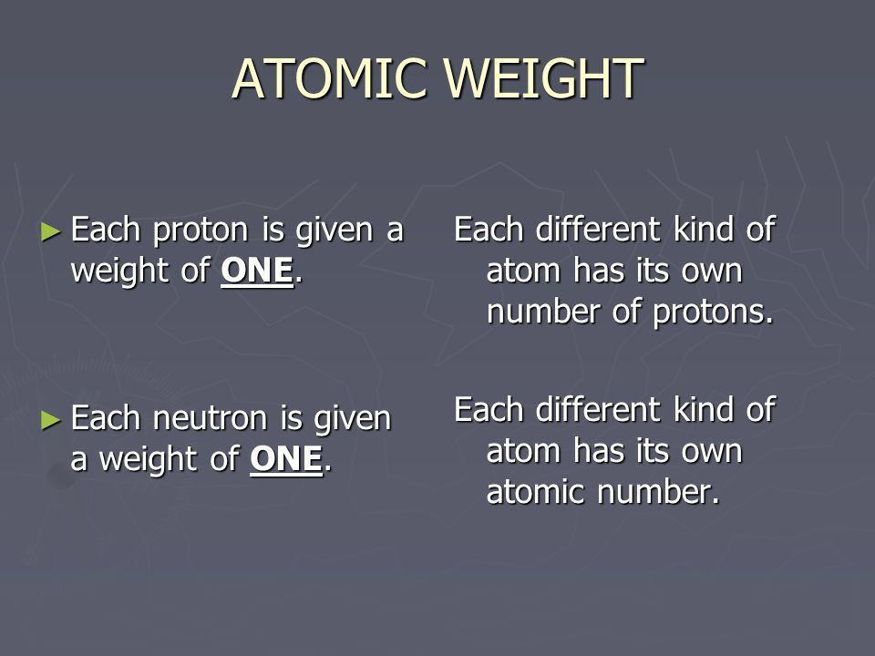 ATOMIC WEIGHT Each proton is given a weight of ONE.