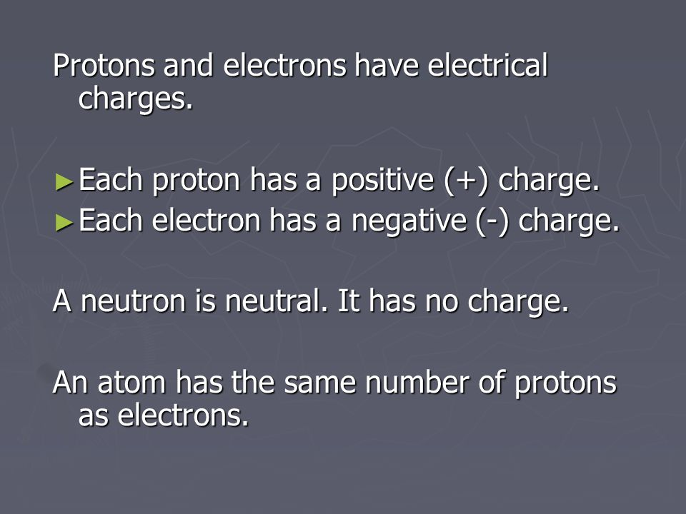 Protons and electrons have electrical charges. Each proton has a positive (+) charge.