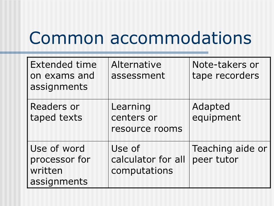 Common accommodations Extended time on exams and assignments Alternative assessment Note-takers or tape recorders Readers or taped texts Learning cent