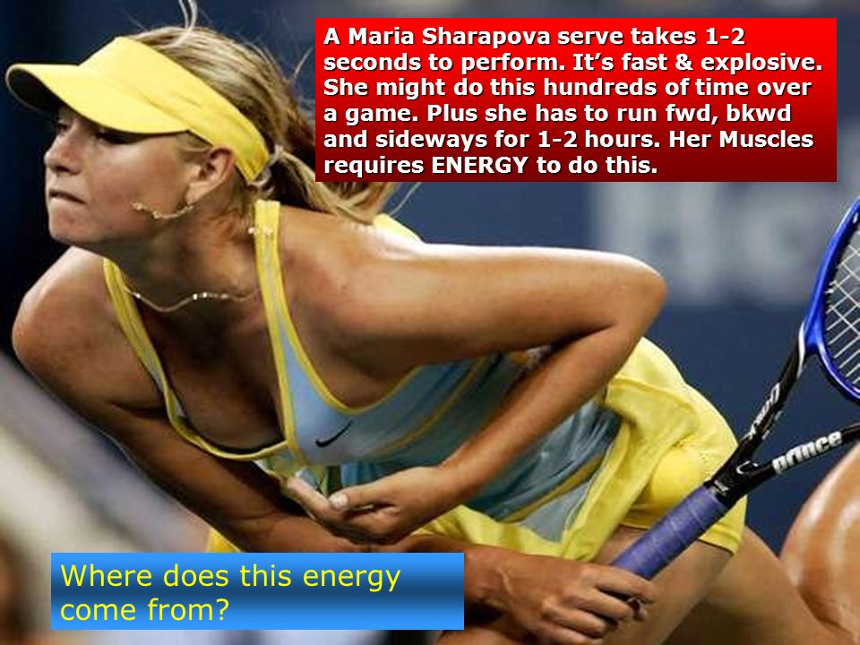 Where does this energy come from. A Maria Sharapova serve takes 1-2 seconds to perform.
