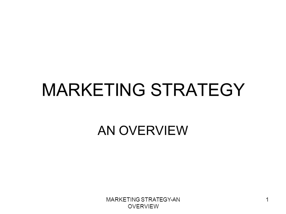 MARKETING STRATEGY-AN OVERVIEW 1 MARKETING STRATEGY AN OVERVIEW