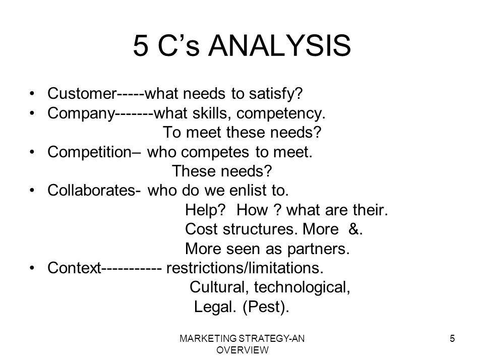 MARKETING STRATEGY-AN OVERVIEW 5 5 Cs ANALYSIS Customer-----what needs to satisfy? Company-------what skills, competency. To meet these needs? Competi