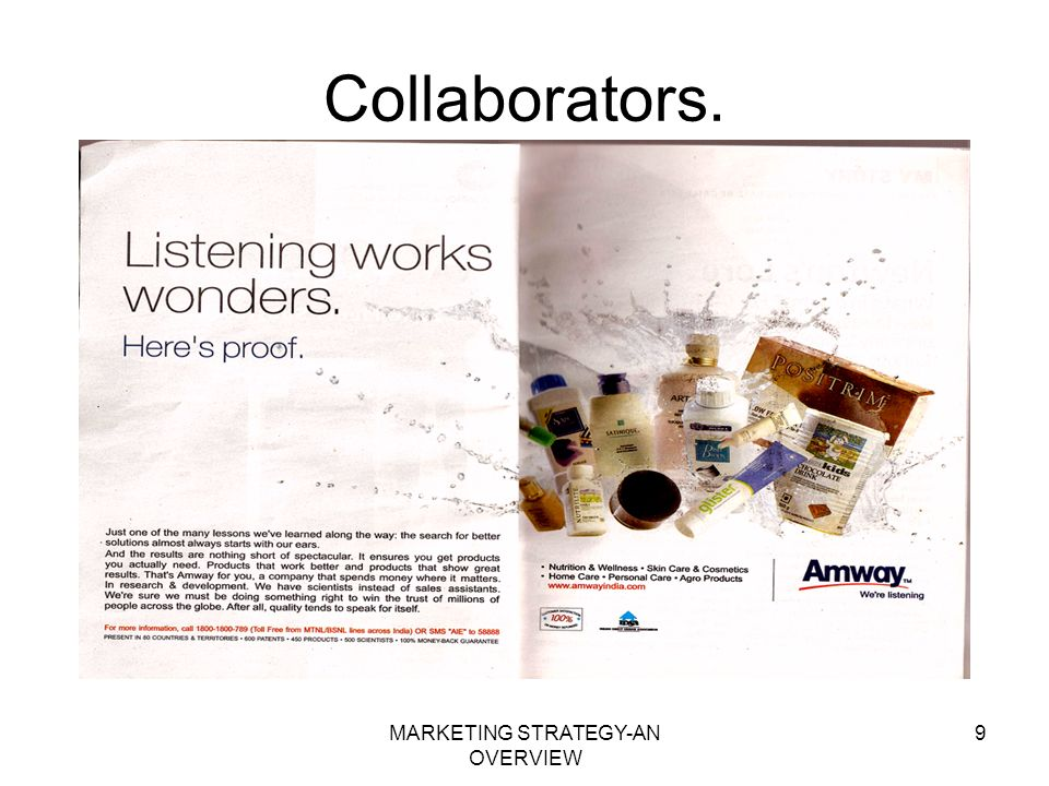 MARKETING STRATEGY-AN OVERVIEW 9 Collaborators.