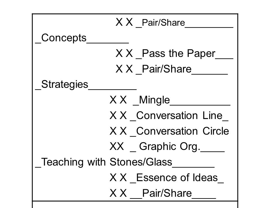 X X _ Pair/Share ________ _Concepts_______ X X _Pass the Paper___ X X _Pair/Share______ _Strategies________ X X _Mingle__________ X X _Conversation Line_ X X _Conversation Circle XX _ Graphic Org.____ _Teaching with Stones/Glass_______ X X _Essence of Ideas_ X X __Pair/Share____