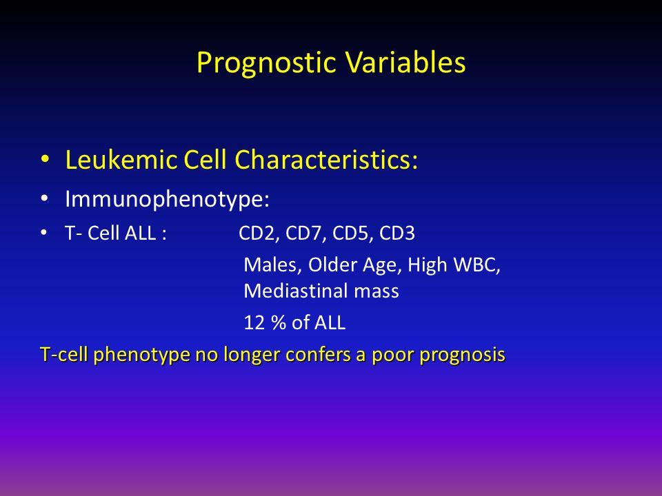 Prognostic Variables Leukemic Cell Characteristics: Immunophenotype: T- Cell ALL : CD2, CD7, CD5, CD3 Males, Older Age, High WBC, Mediastinal mass 12