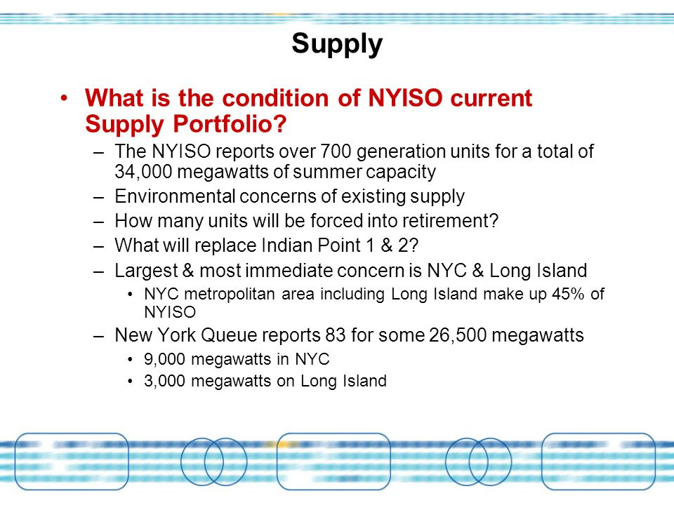 Supply What is the condition of NYISO current Supply Portfolio.
