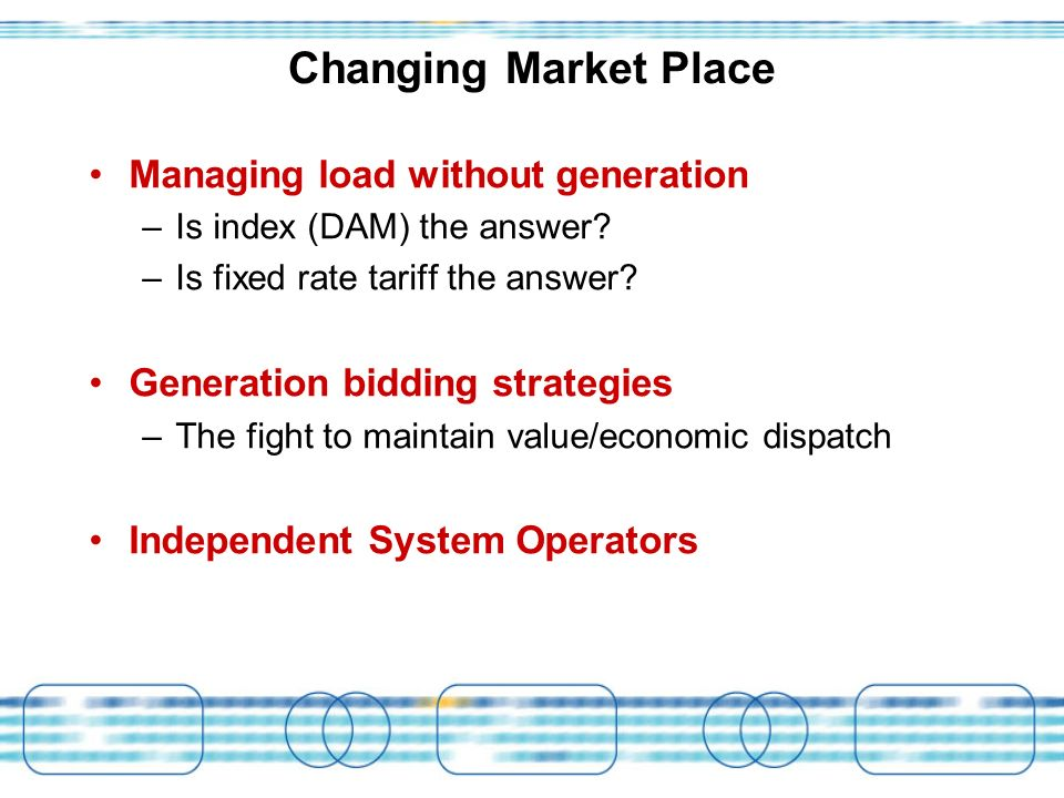 Changing Market Place Managing load without generation –Is index (DAM) the answer? –Is fixed rate tariff the answer? Generation bidding strategies –Th
