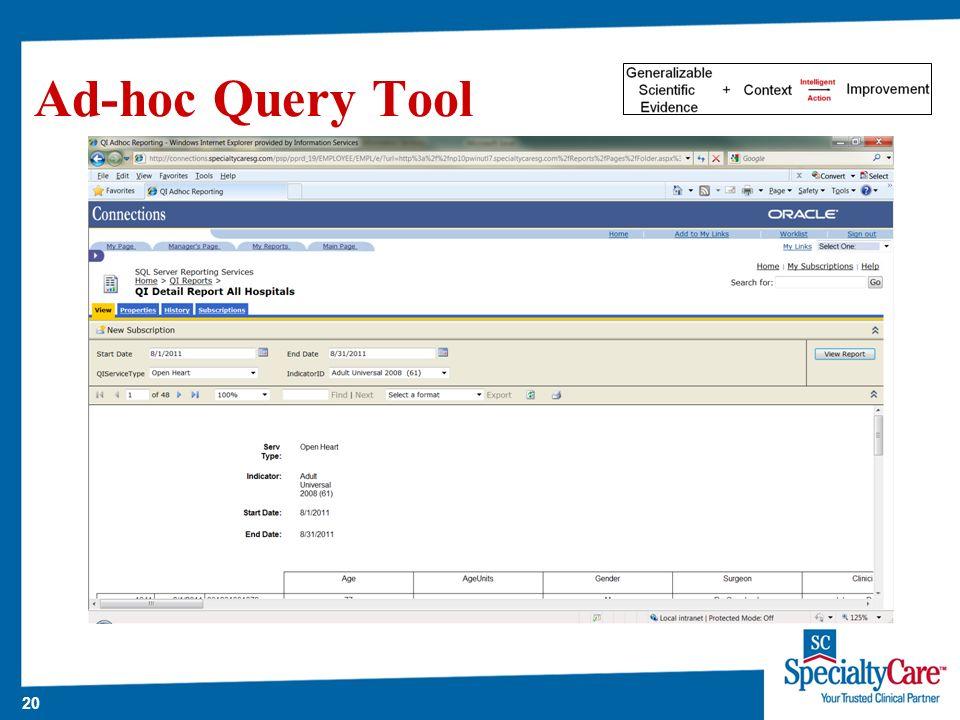 20 Ad-hoc Query Tool