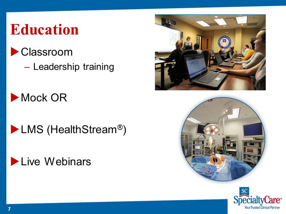 7 Education Classroom –Leadership training Mock OR LMS (HealthStream ® ) Live Webinars
