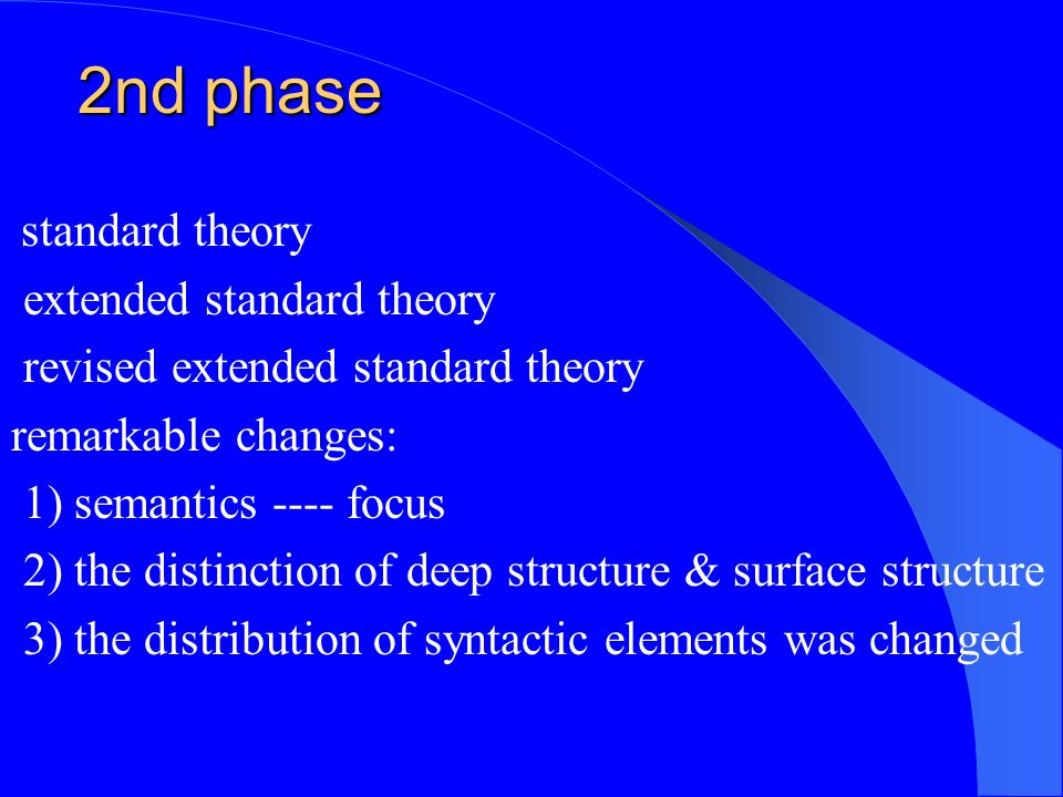 2nd phase standard theory extended standard theory revised extended standard theory remarkable changes: 1) semantics ---- focus 2) the distinction of deep structure & surface structure 3) the distribution of syntactic elements was changed