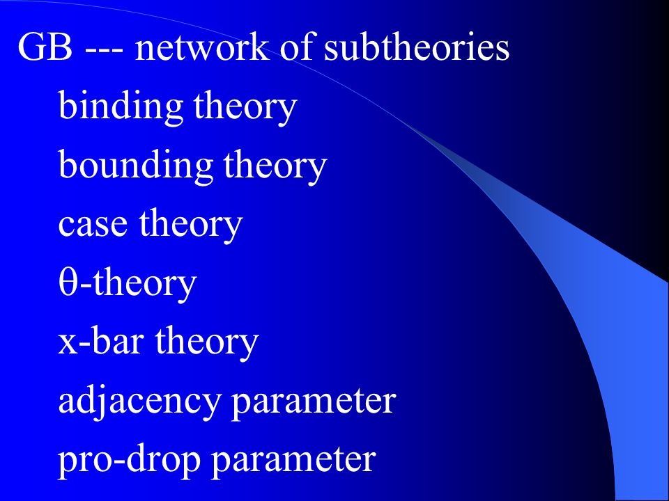 GB --- network of subtheories binding theory bounding theory case theory -theory x-bar theory adjacency parameter pro-drop parameter