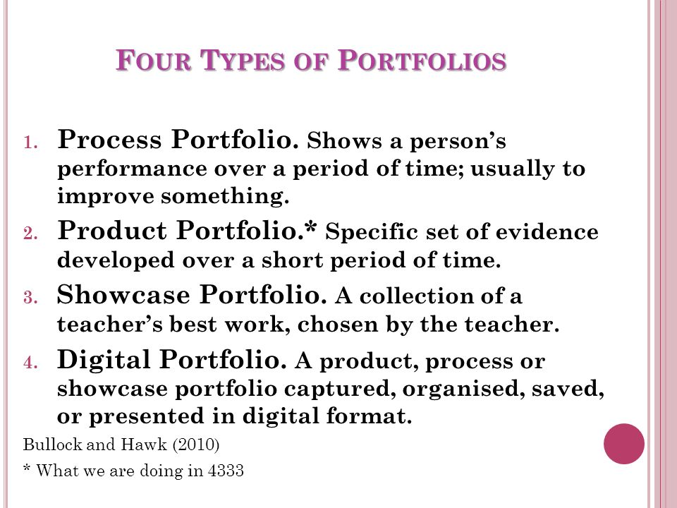 P ORTFOLIO OF R ESOURCES What is a Portfolio.