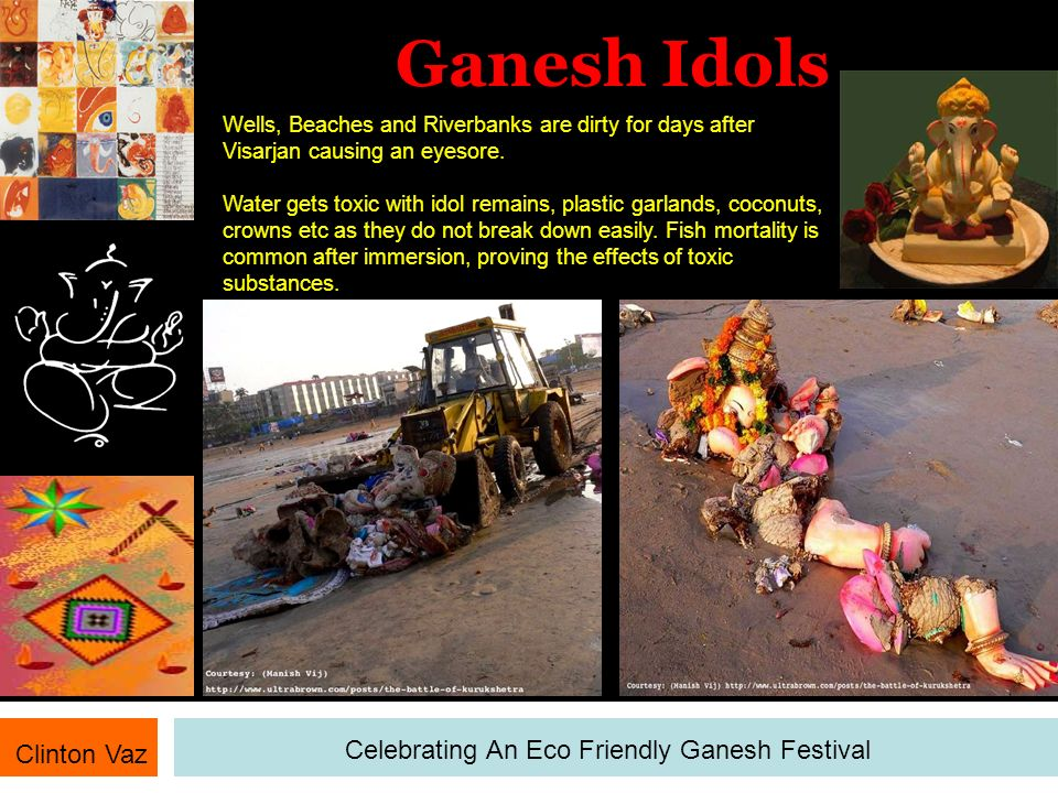 Ganesh Idols Clinton Vaz Celebrating An Eco Friendly Ganesh Festival Wells, Beaches and Riverbanks are dirty for days after Visarjan causing an eyesor