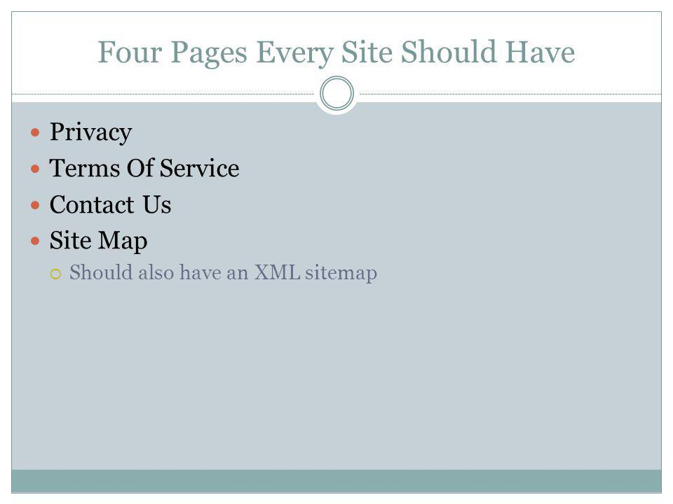 Four Pages Every Site Should Have Privacy Terms Of Service Contact Us Site Map Should also have an XML sitemap