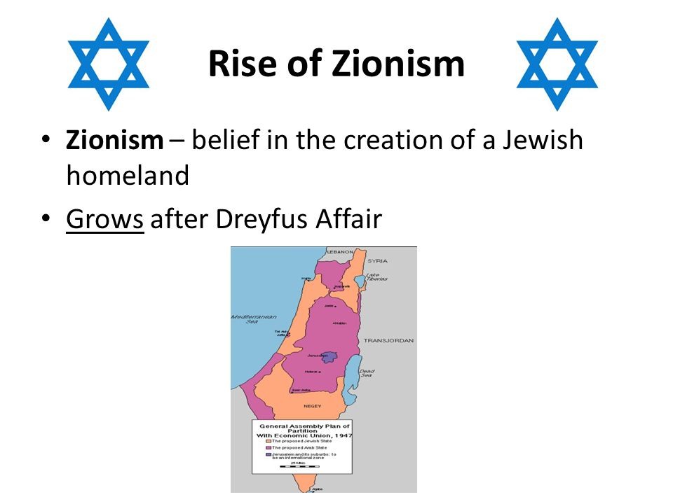 Rise of Zionism Zionism – belief in the creation of a Jewish homeland Grows after Dreyfus Affair