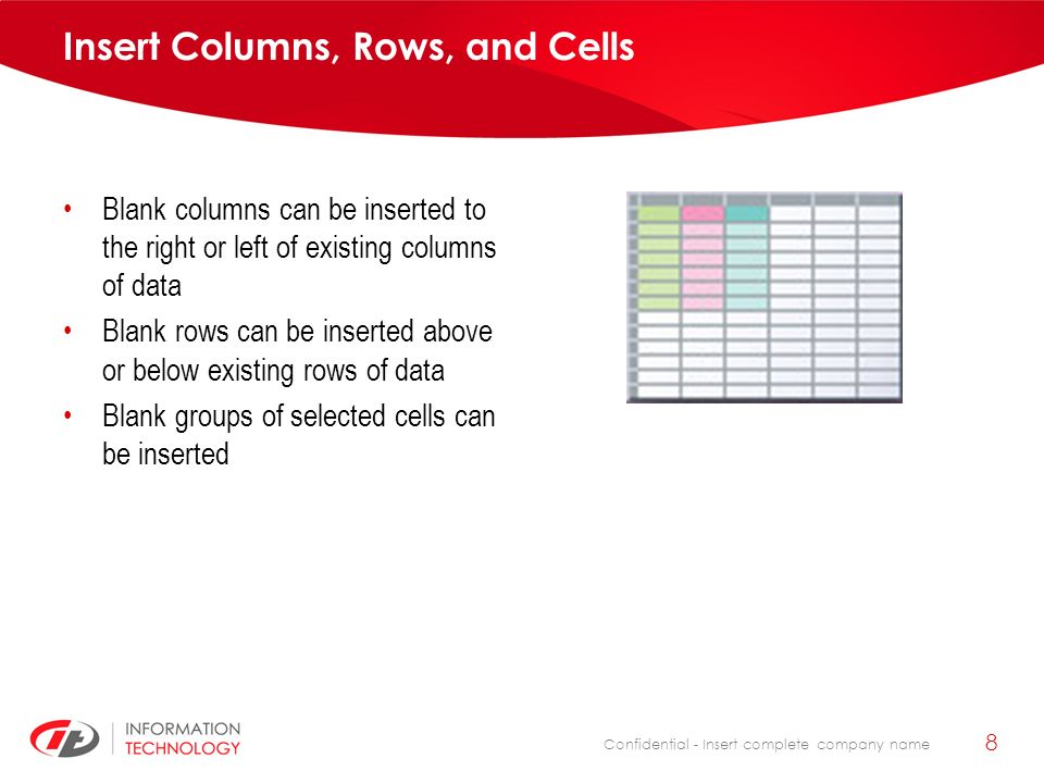 Confidential - Insert complete company name 8 Insert Columns, Rows, and Cells Blank columns can be inserted to the right or left of existing columns o