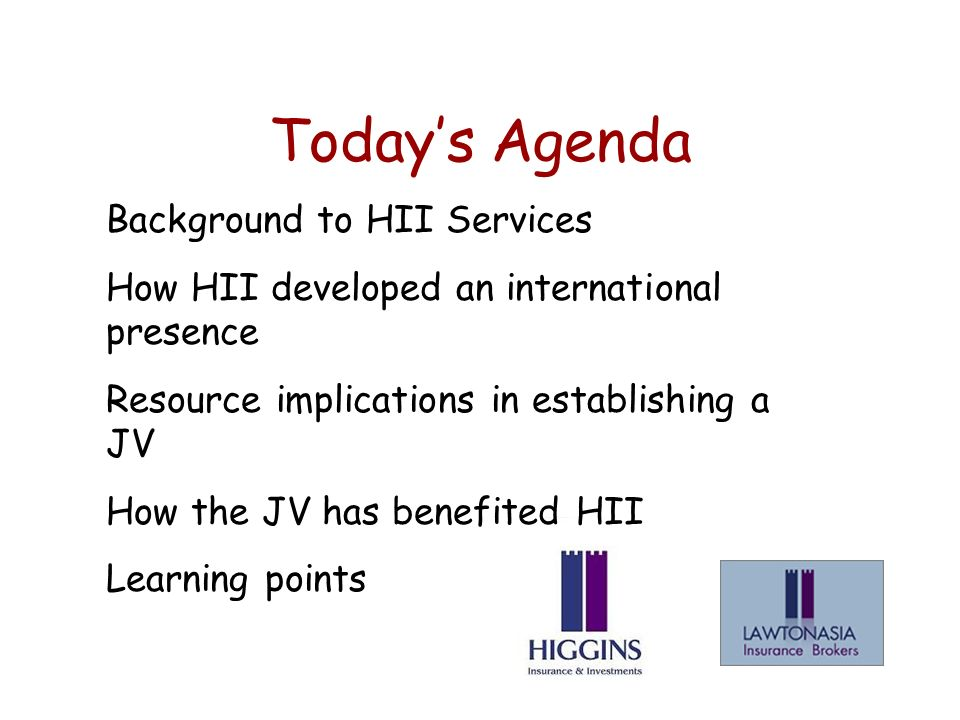 Todays Agenda Background to HII Services How HII developed an international presence Resource implications in establishing a JV How the JV has benefited HII Learning points