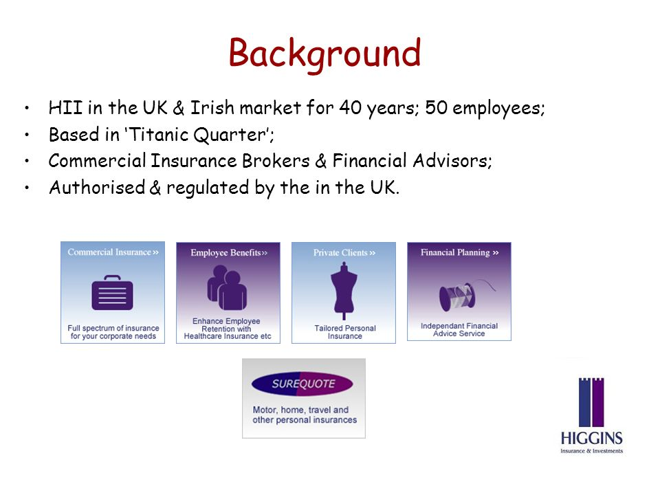 Background HII in the UK & Irish market for 40 years; 50 employees; Based in Titanic Quarter; Commercial Insurance Brokers & Financial Advisors; Authorised & regulated by the in the UK.