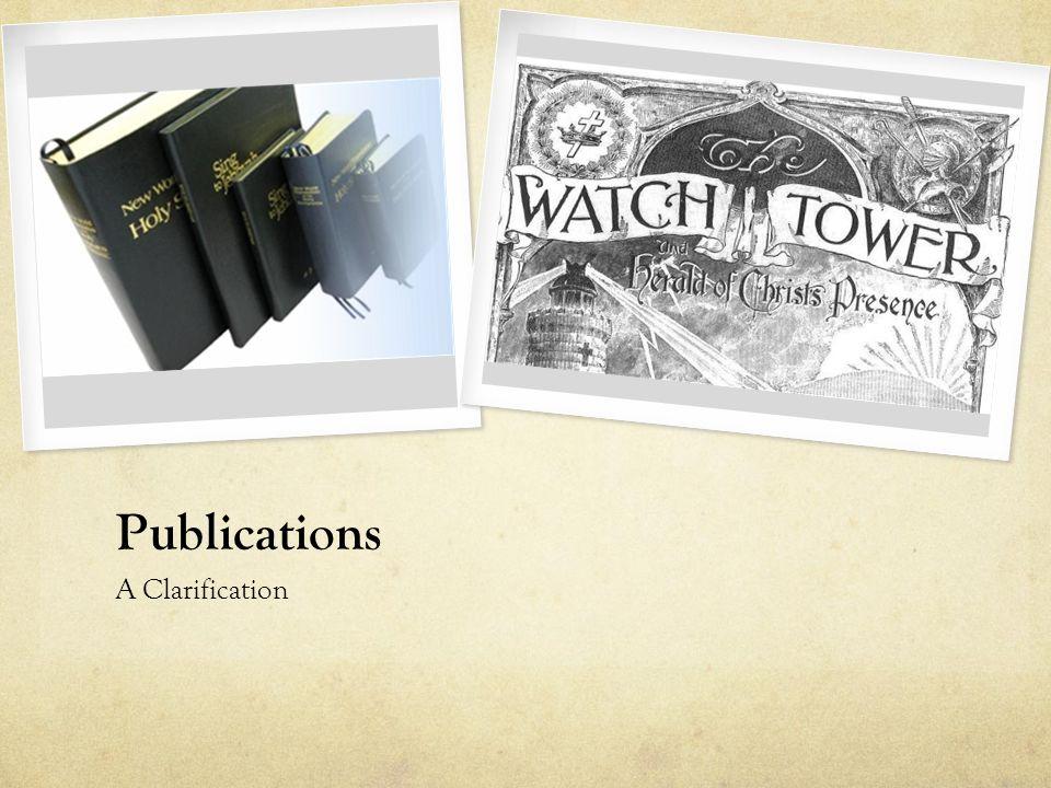 Publications A Clarification