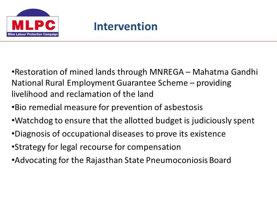 Restoration of mined lands through MNREGA – Mahatma Gandhi National Rural Employment Guarantee Scheme – providing livelihood and reclamation of the la