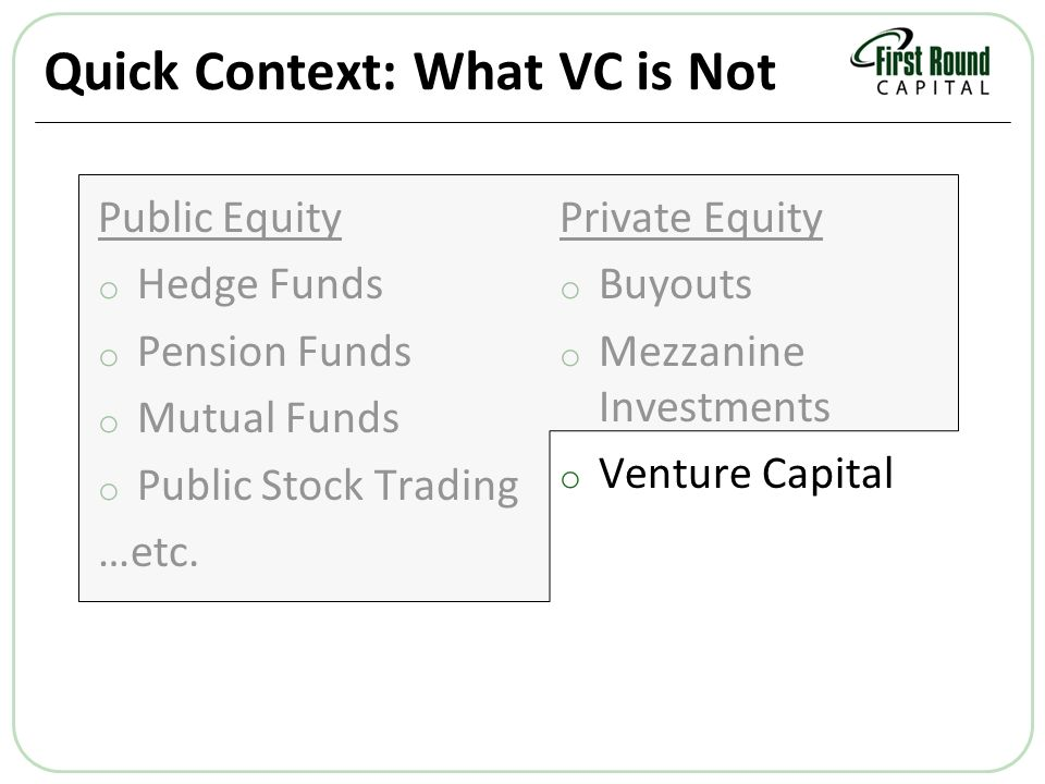 Quick Context: What VC is Not Public Equity o Hedge Funds o Pension Funds o Mutual Funds o Public Stock Trading …etc.