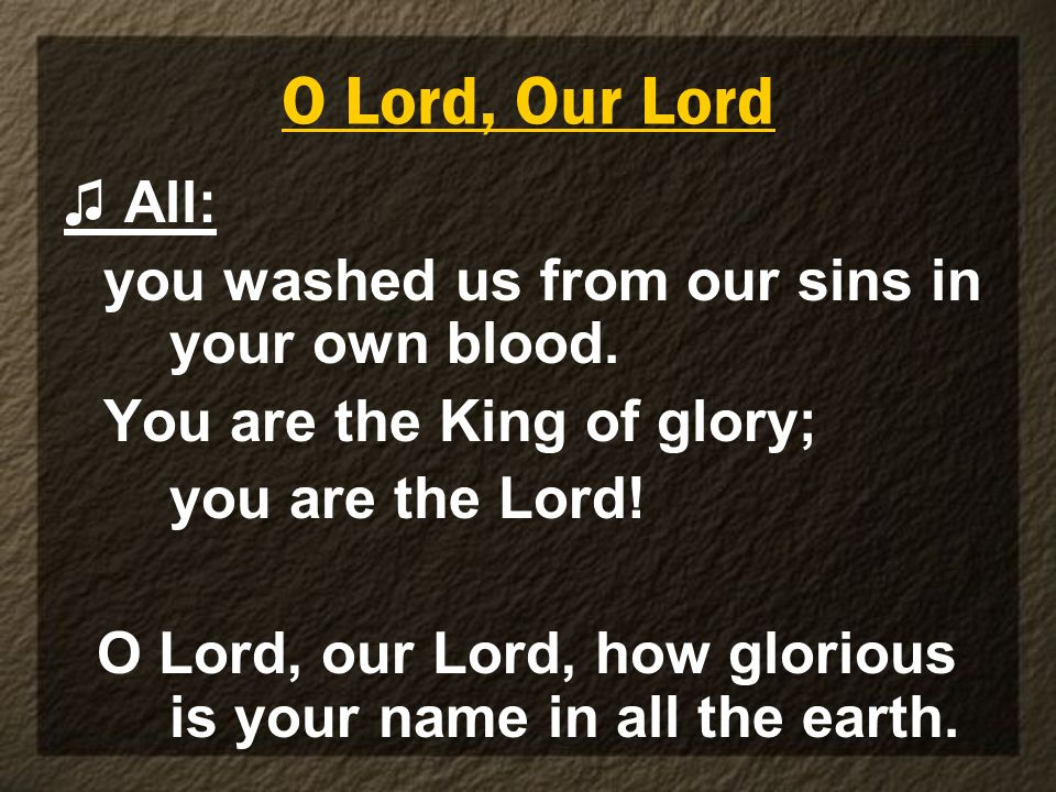 O Lord, Our Lord All: you washed us from our sins in your own blood. You are the King of glory; you are the Lord! O Lord, our Lord, how glorious is yo