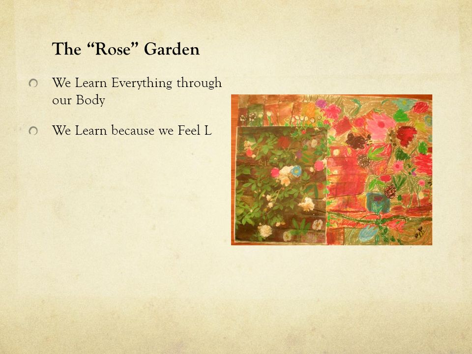 The Rose Garden We Learn Everything through our Body We Learn because we Feel L